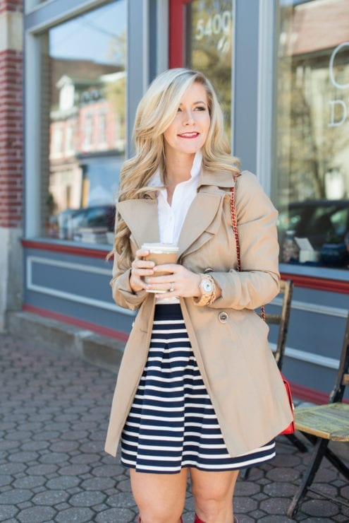 Jord-Watches-Wood Watch-Spring Accessories-Nautical-Stripe Skirt-Trench