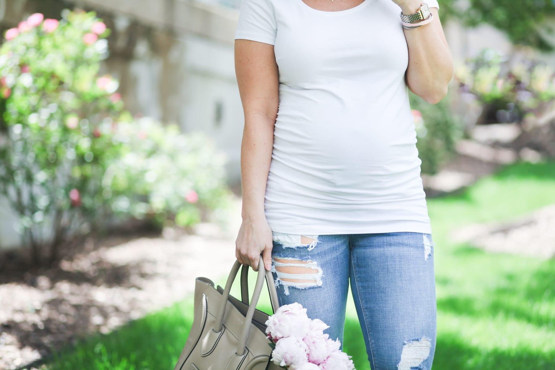 Ashley Pletcher - Celine bag - ripped jeans - flowers - peonies - white tee shirt - fashion blogger - maternity - mom blog