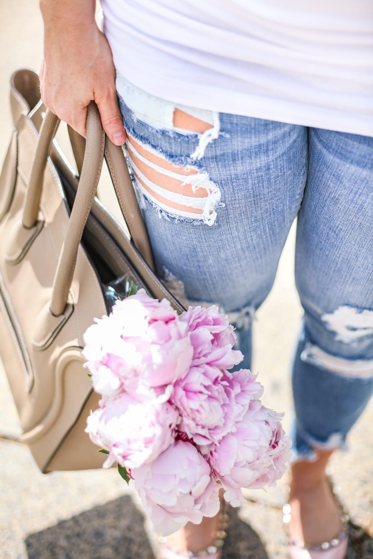 Ashley Pletcher - fashion blogger - Celine bag - ripped jeans - flowers - peonies - white tee shirt