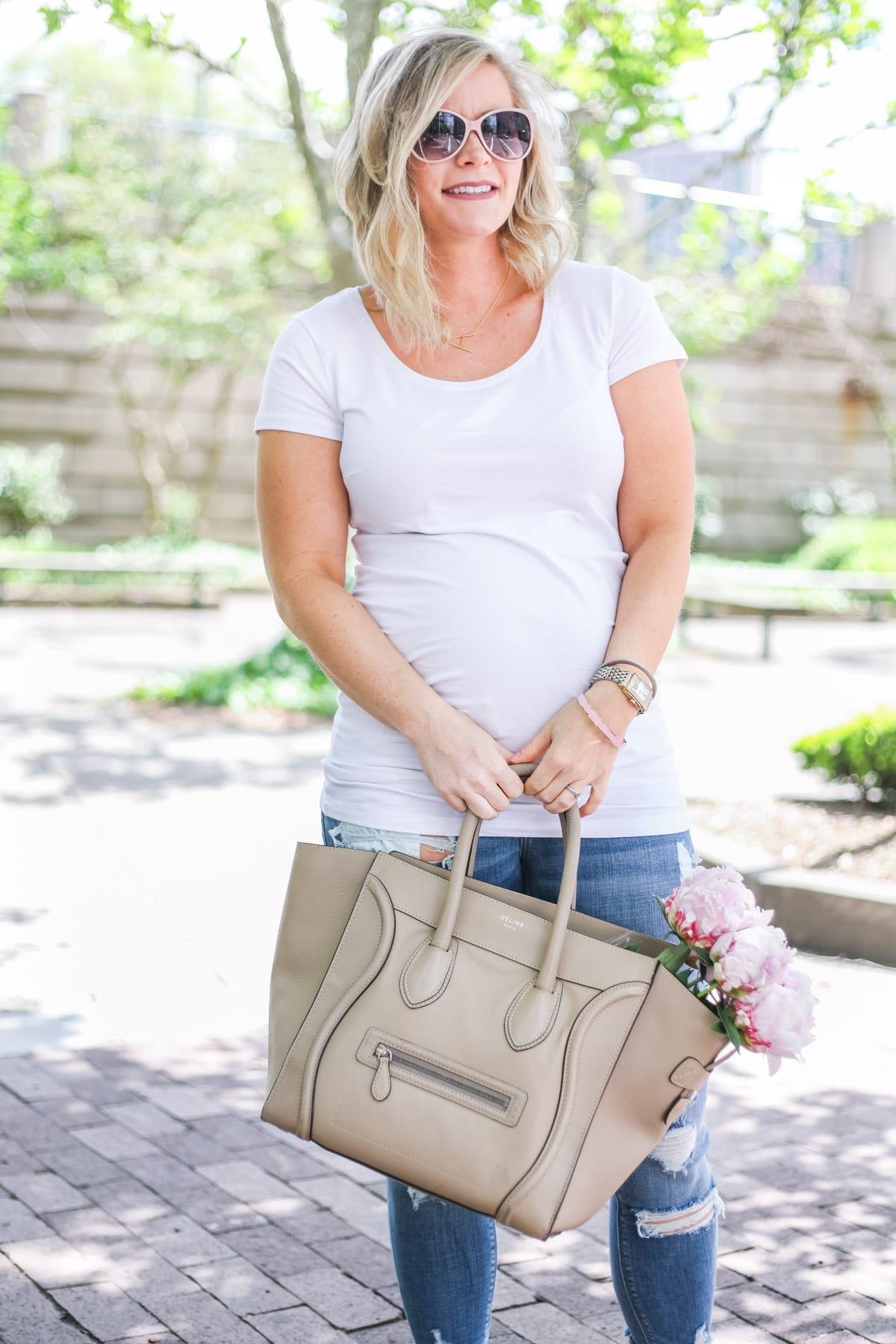 Ashley Pletcher - fashion blogger - Celine bag - mom blog - maternity - ripped jeans - flowers - peonies - white tee shirt